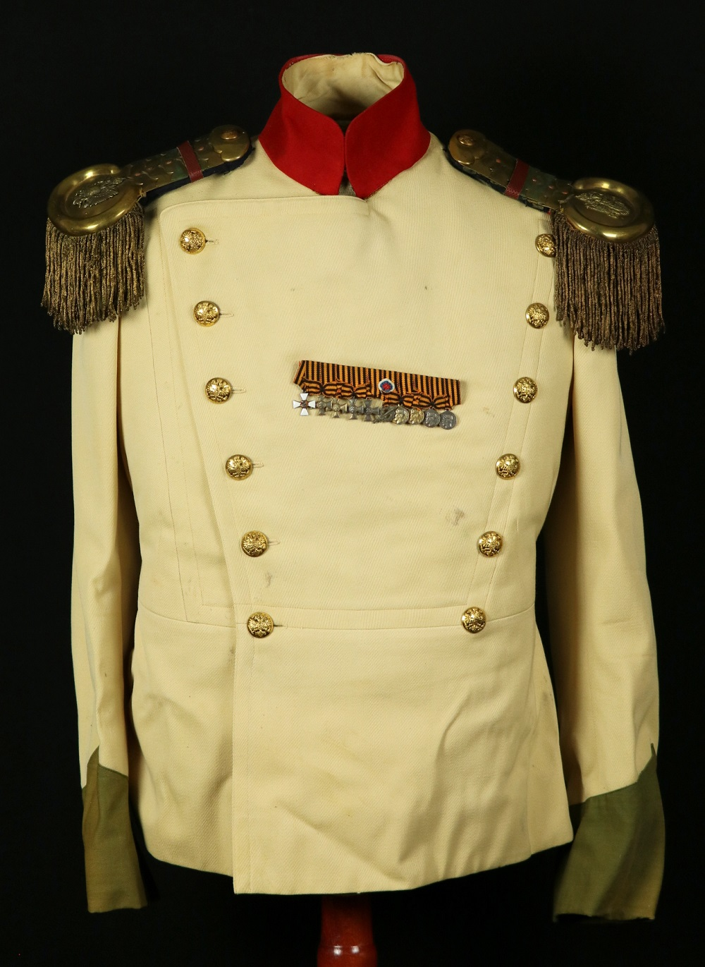Russian Imperial Military Officer's Uniform Tunic with Miniature Medals/Orders (some Silver) & Epaulettes.
