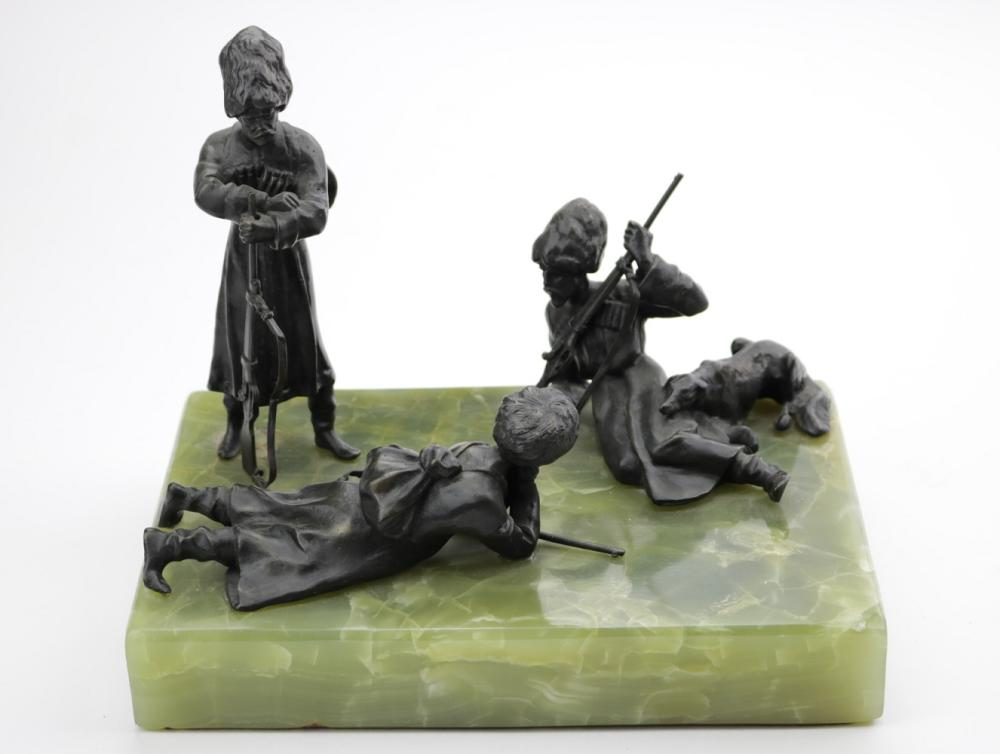 Russian Imperial Bronze Grouping of Resting Cossack Soldiers with Swords & Rifles, on its Onyx Stone base.