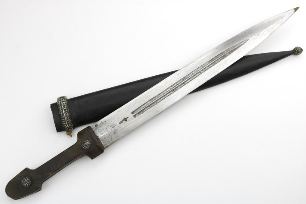 Russian Imperial Caucasian KINJAL Dagger with Ornate Silver Mounts