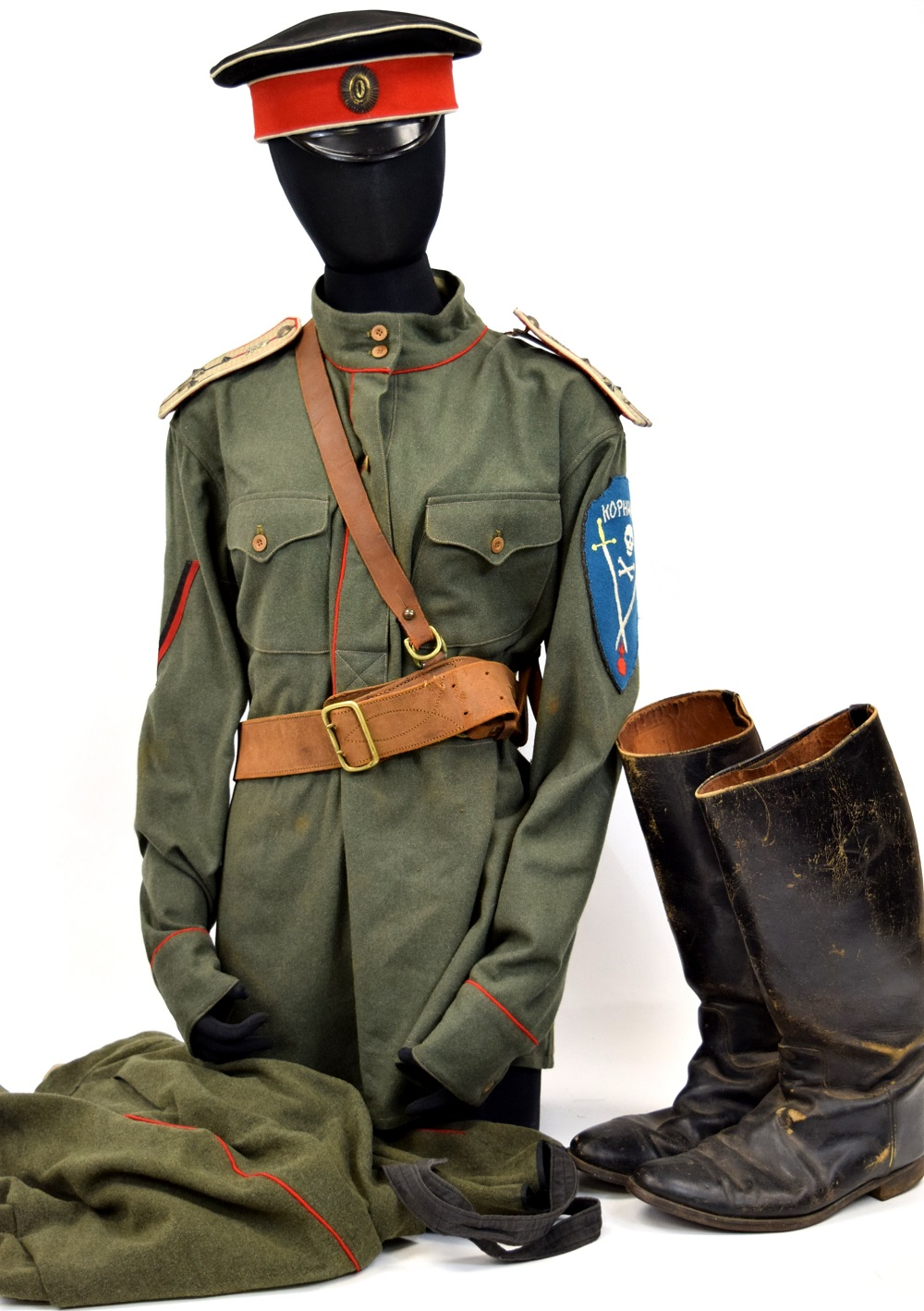 Circa 1917-1920 Russian White Army Kornilov Regiments Officers Complete Uniform with Hat & Boots.