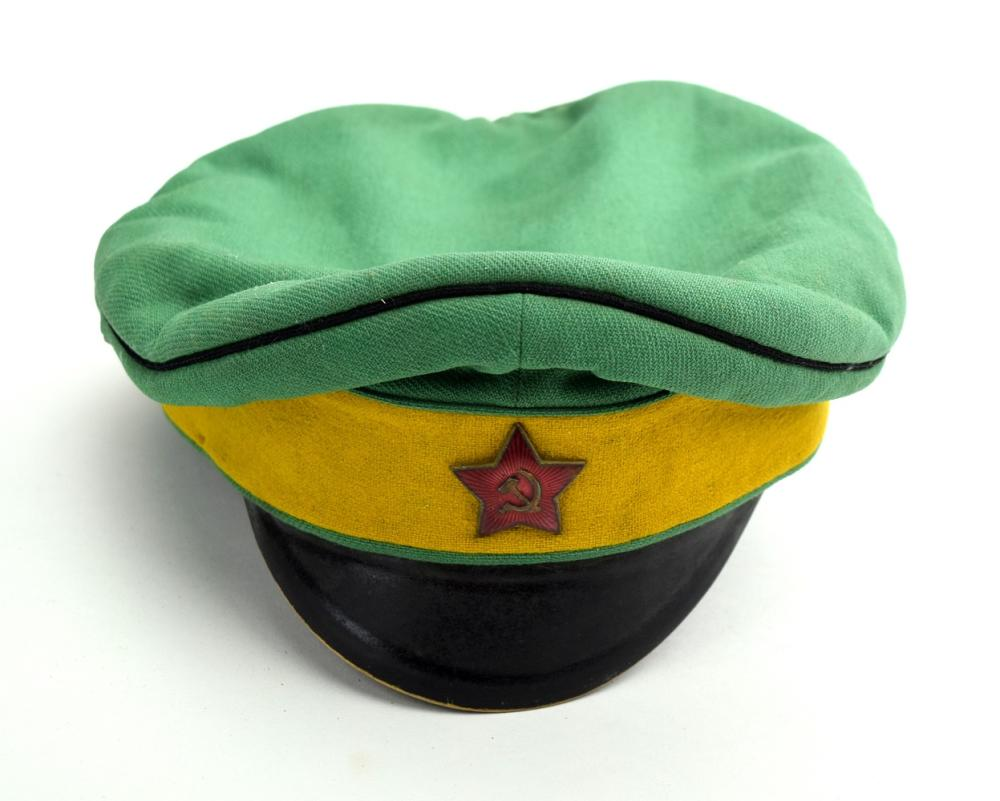 Russian Early Soviet era Communist Military Officers Hat with Enameled Red Star Badge.