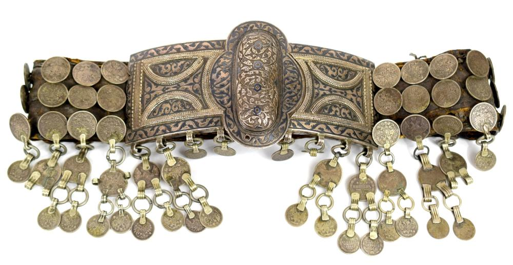 """Outstanding 19th C. Russian Imperial Massive Niello Enamel on """"84"""" Silver Belt with Coins. Signed & Dated."""