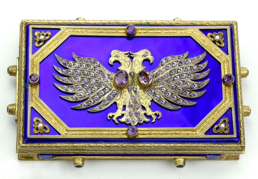 Fabulous 19th C. Austrian Hungarian Imperial Officers Tobacco Case Box
