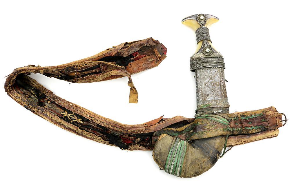 19th C. Islamic Arabic JAMBIYA Dagger in Silver Mounts with Original Belt.