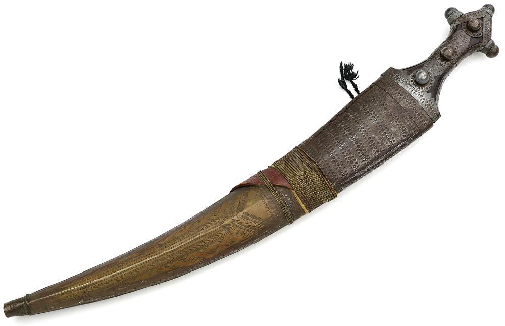 19th C. Large Arabic Islamic Wahabitte JAMBIYA Dagger Sword in Steel & Brass Mounts