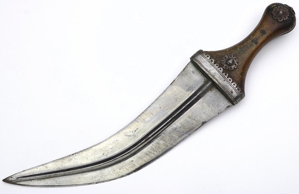 Interesting 19th C. Arabic Islamic JAMBIYA Dagger with Etched Blade