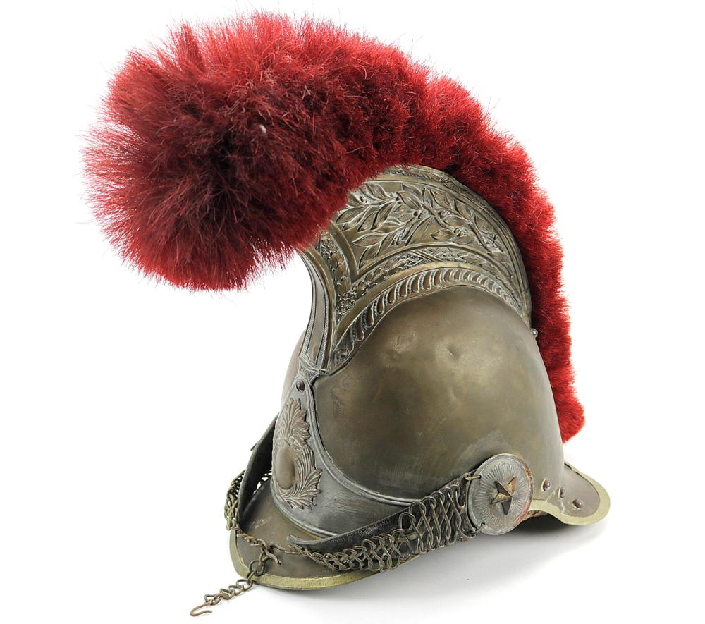 Beautiful 1856 dated French Dragoon or Grenadier Helmet, with red horse hair top and a flaming grenade to the front. Well marked and dated on the back.