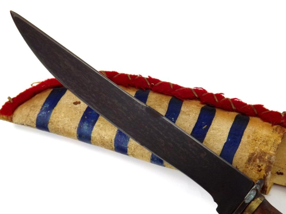 19th C  Native American Indian Used Knife Dagger in Flag