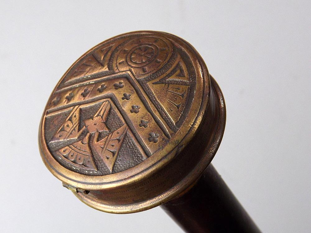 Outstanding 19th C  Gamblers Walking Cane with 4-shot Ring