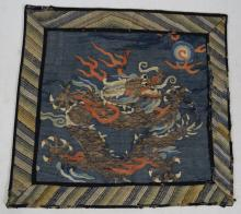 Qing Period Chinese Dragon Silk Embroidery