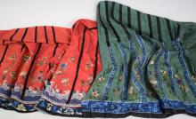 Three Antique Chinese Silk Fragment Skirts