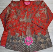19th C. Chinese Qing Dynasty Silk Robe Gold Threads