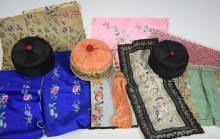 Varies Chinese Silk Embroideries and Hats
