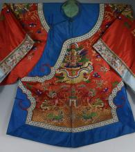 Qing dynasty Chinese Embroidered Silk Dragon Robe