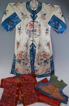 Chinese Embroidered Silk Robe and Two Children Items