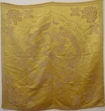 Fine Antique Chinese Dragon Gold Silk Brocade Embroidery