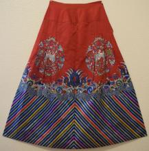 Antique Chinese Silk Embroidered Skirt