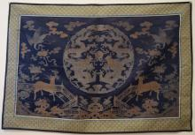 Antique Chinese Silk Brocade Embroidered  Panel