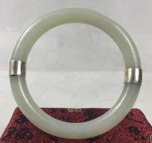 18th Century Chinese  White Jade Bangle Bracelet