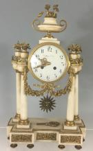 marble with bronze accents mantel clock by Tiffany &