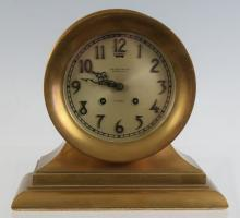 Rare vintage Chelsea ships bell clock with brass stand