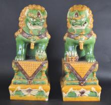 Pr. Large Chinese Sancai foo-dogs