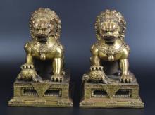 Pr. Chinese bronze foo-dogs