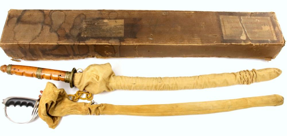 Rare WW II Grouping of GI Philippines Bring Back M-1902 US Cavalry Officer's Sword & Signed Japanese Battle Katana ~ in Original Shipping Box with Documents & Papers ~ Presentation Inscription on Scabbard.