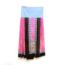 清 繡花仕女長壽紋褶裙 Qing, Rose Silk Embroidered Skirt, Qun