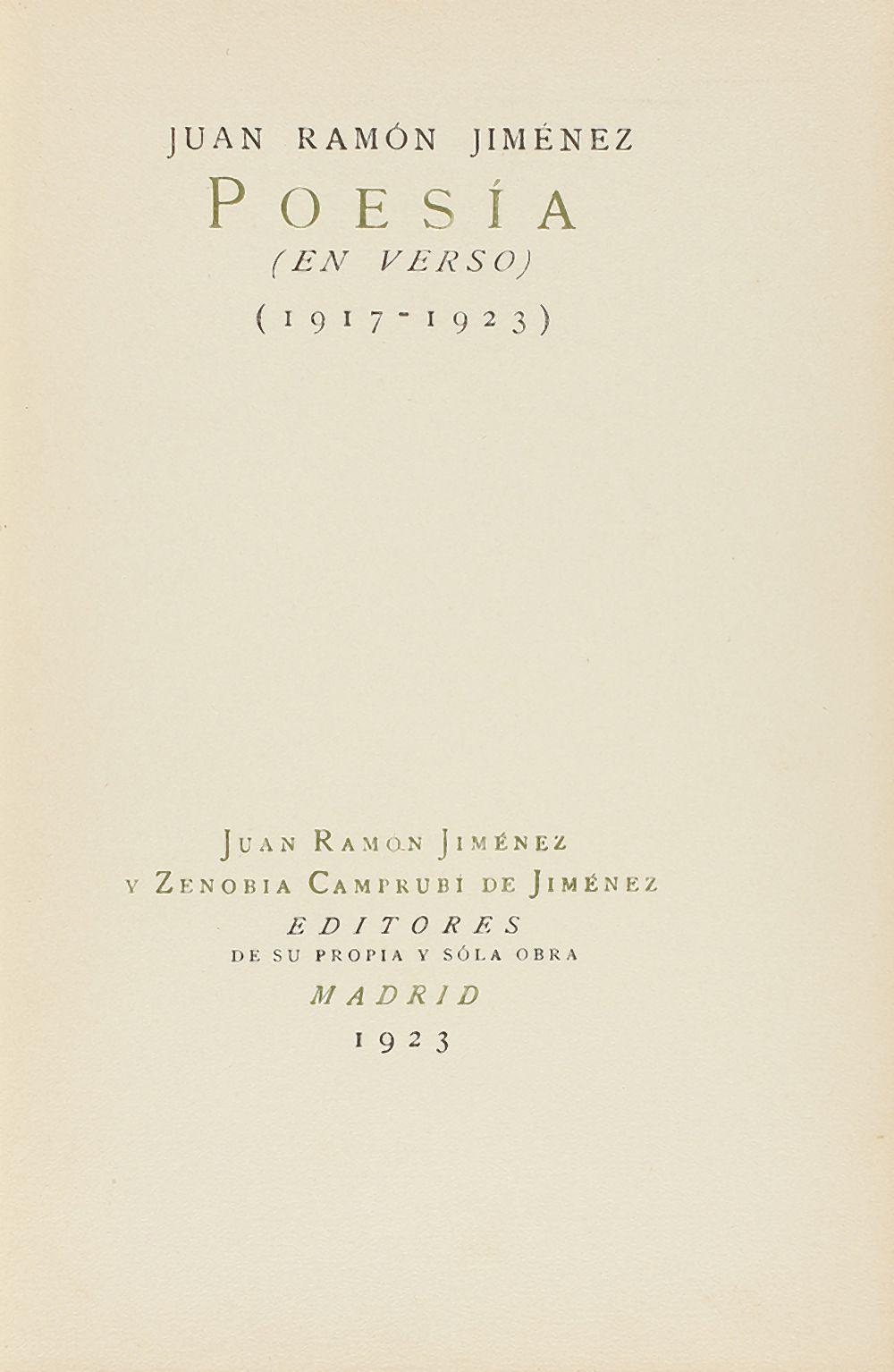 1923. LIBRO: (LITERATURA-MODERNISMO). JIMENEZ, JUAN RAMÓN: POESIA (EN VERSO) (1917-1923). Madrid: Ju
