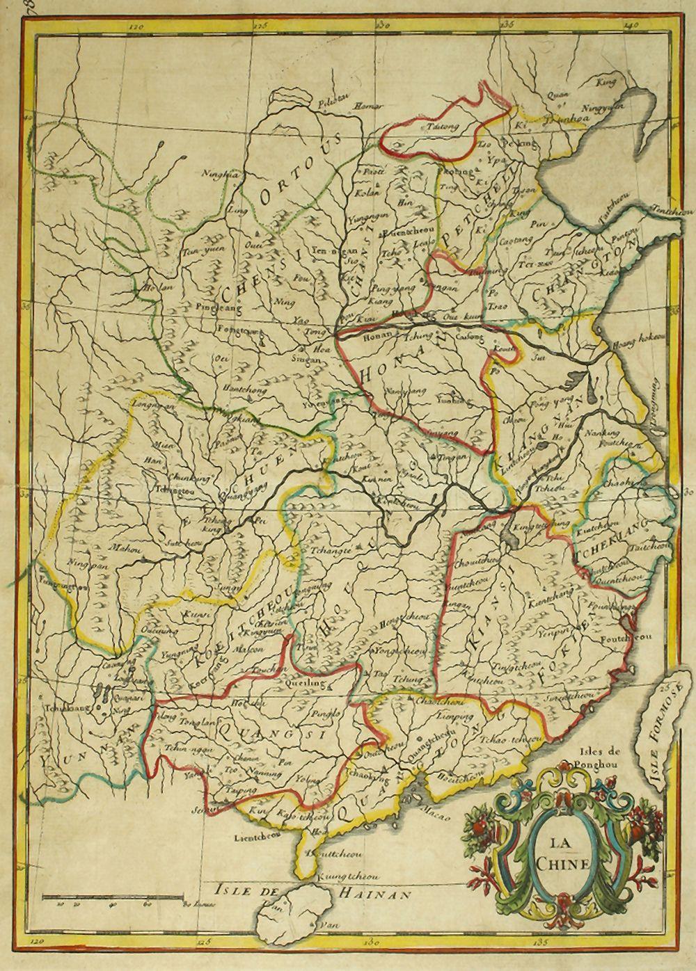 1780 ca. MAPA: (CHINA). LA CHINE. Calcografía. Plancha: 29 x 22 cm; Papel: 34 x 24 cm. Límites y car