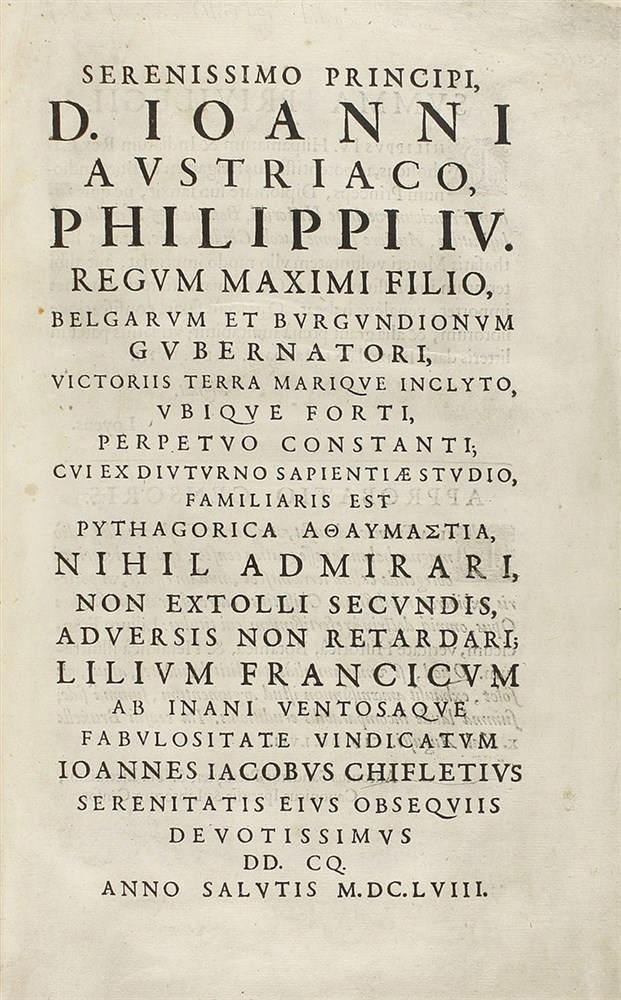 1658. LIBRO: (HERALDICA). CHIFLETIO, IOANNE IACOBO: LILIUM FRANCICUM VERITATE HISTORICA, BOTANICA, E