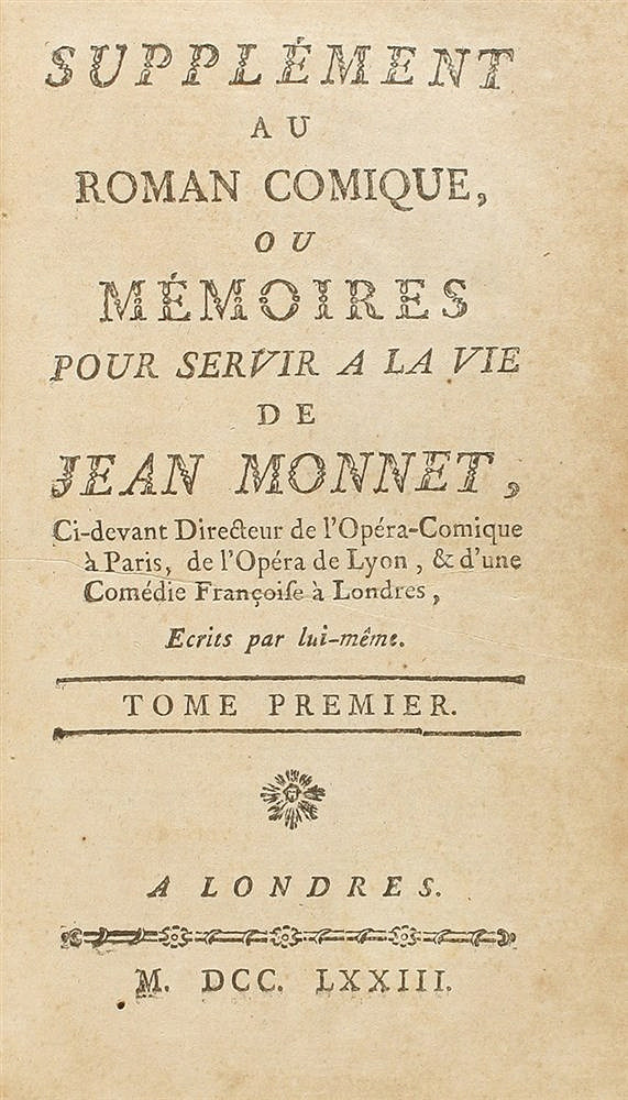 1773. LIBRO: (ARTE-MEMORIAS). SUPPLÉMENT AU ROMAN COMIQUE, OU MÉMOIRES POUR SERVIR A LA VIE DE JEAN