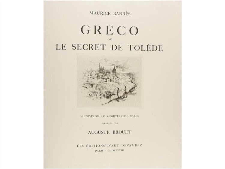 1928. LIBRO: (BIBLIOFILIA). BARRES. MAURICE: GRECO OU LE SECRET DE TOLEDE. Vingt-trois eaux-fortes o