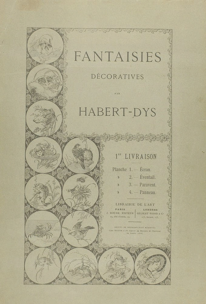 1886. GRABADO: (ARTE-MODERNISMO). HABERT-DYS: FANTAISIES DÉCORATIVES. Paris