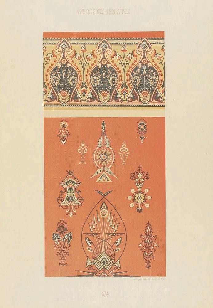 1888 ca. GRABADO: (ARTE-MODERNISMO). CODINA Y SERT, GINÉS: COMPOSICIONES DE
