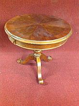 Mahogany Drum Lamp Table