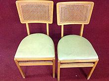 Pair of Cain back mid-century folding chairs