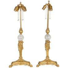 Pair of American Gilt Bronze and Rock Crystal Table Lamps, Edward F. Caldwell Co