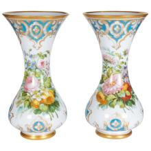 Pair of French Opaline Glass Vases Attrib Baccarat Style of Francois Robert