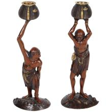 Exquisite Pair of Japanese Meiji Mixed Metal Bronze Oni Figures Signed