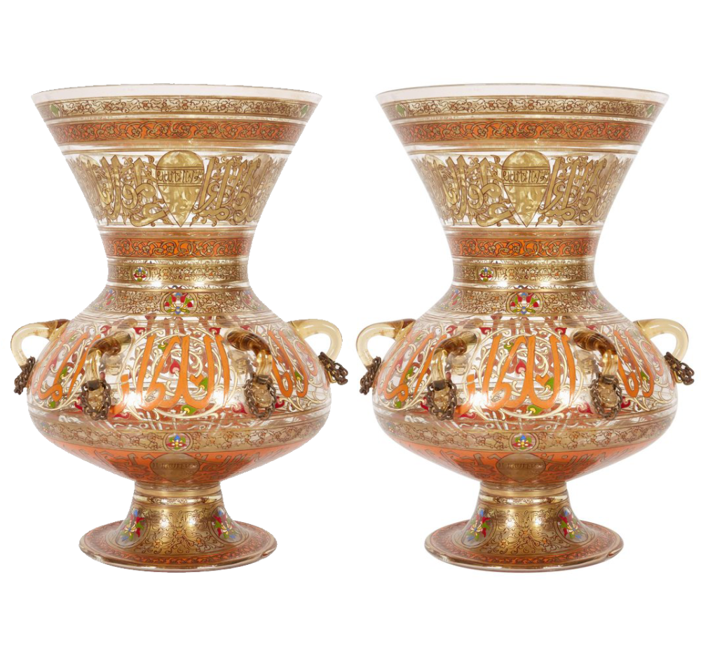 Pair of French Enamelled Mamluk Revival Glass Mosque Lamp by Philippe  Joseph Brocard