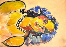 """Louis LATAPIE (1891-1972) - """"Portrait de femme"""". - Huile sur papier marouflée sur toile signée"""