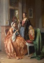 Scene in the living room, 1858 r.