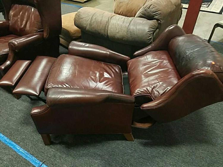 Excellent Ethan Allen Burgundy Leather Wingback Recliner Short Links Chair Design For Home Short Linksinfo