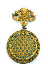 Lot 8589J: Art Art Nouveau, Turquoise, 18th Century Baroque Case, Powder Pin Broach