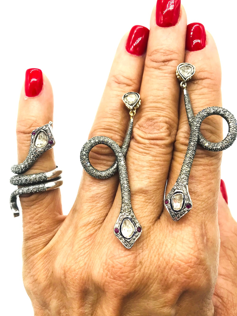 Snake Earrings and Ring, Circa 19th Century, Silver-Diamonds