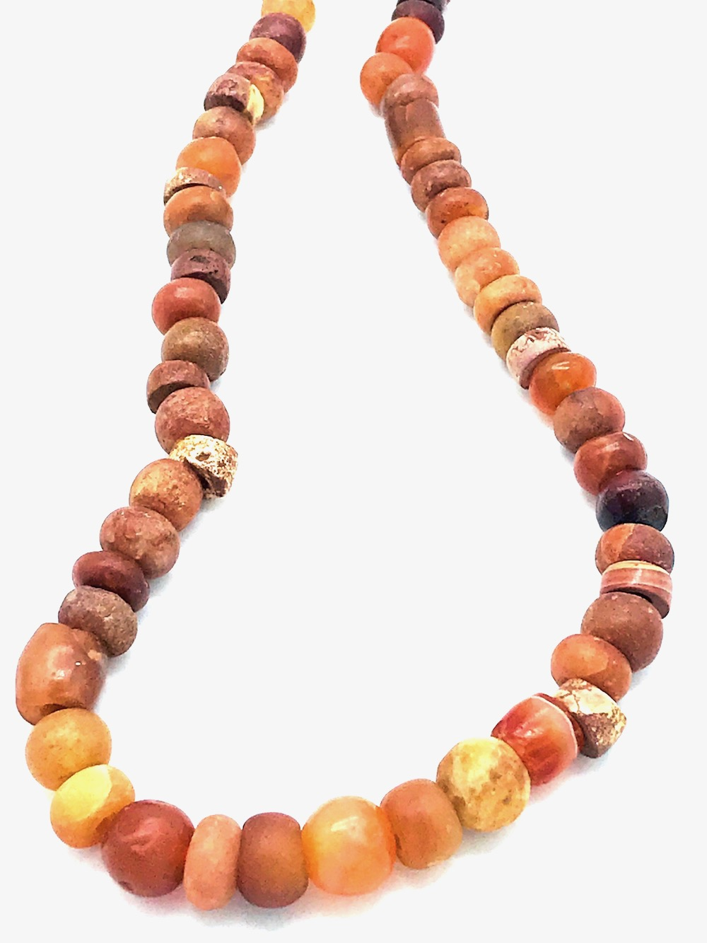 Mali, West African Tribal, Hand-Painted Calcite Bead Necklace