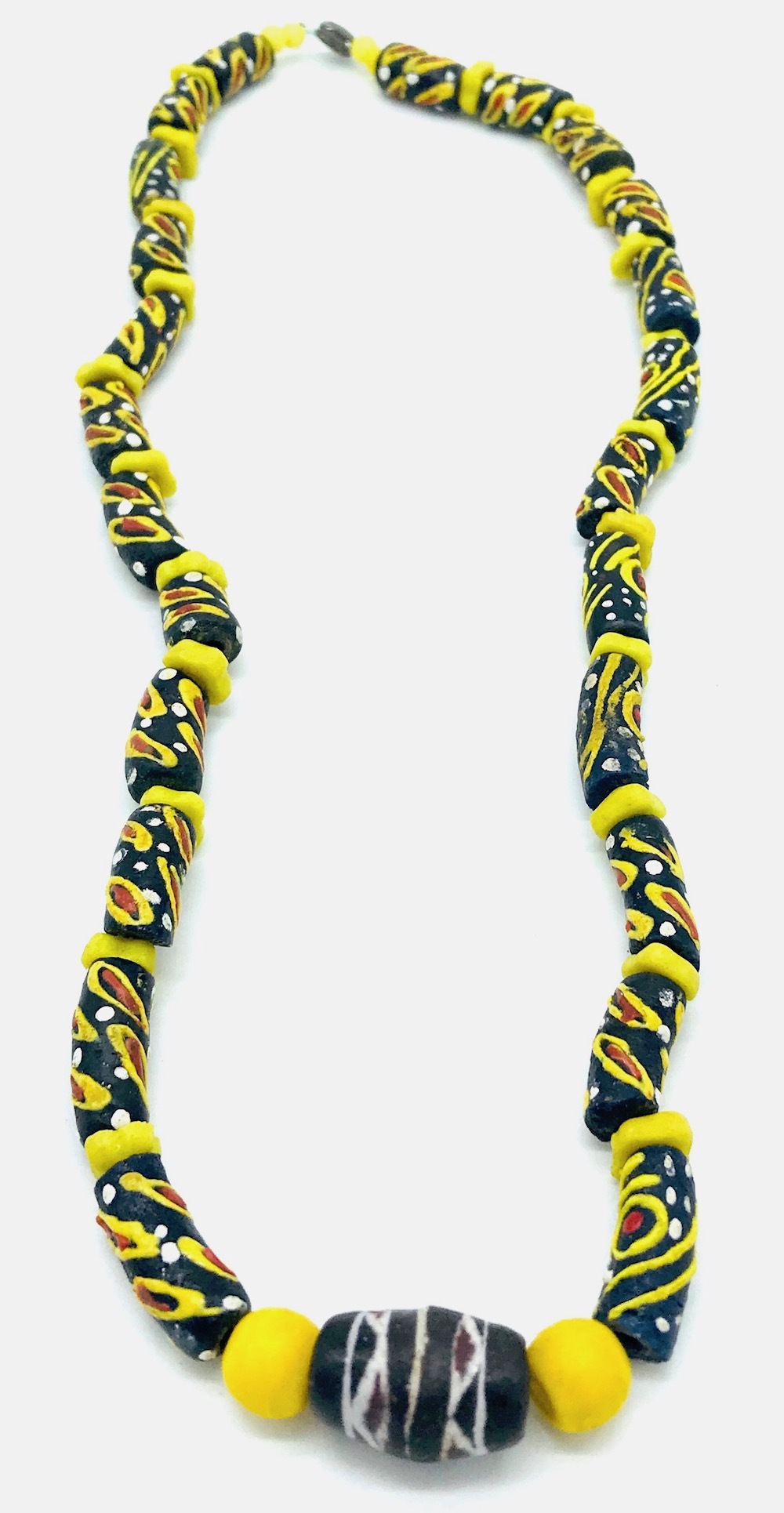 Mali, West African Tribal, Hand-Painted Djenne Yellow Bead Necklace