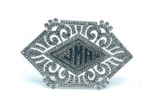 Lot 8647: Art Deco, Large Marquisite Sterling Pin